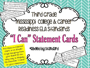 """ELA """"I Can"""" statement cards"""