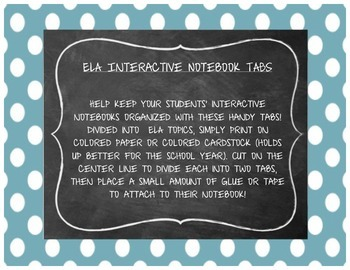 ELA Interactive Notebook Tabs