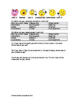 ELA Interest Survey for students