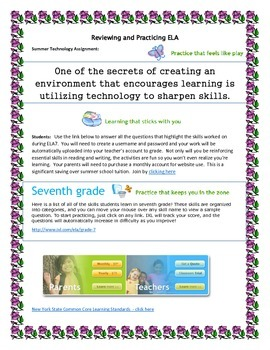 ELA Internet Review Reinforcement Activities middle school