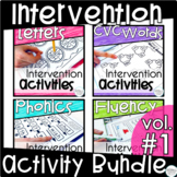 Reading Intervention Binder Bundle- Letters, CVC, Phonics, and Fluency