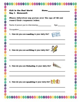 ELA Interview - first day of school - worksheet