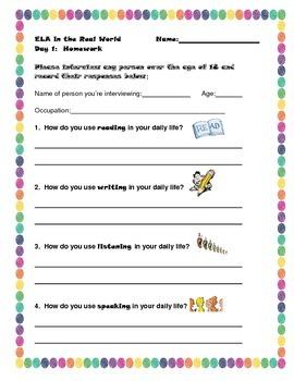 ELA Interview - first day of school - worksheet