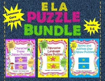 ELA Jigsaw Puzzle BUNDLE! Affixes, Character Traits and Fi