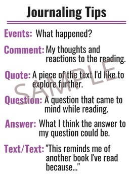 ELA Journaling Prompts Poster Set