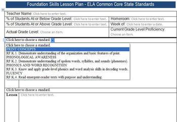 Common Core Lesson Plan Templates ELA K-5 w/Standards in D