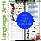 ELA Language Arts Interactive Notebook Cover, Grading Rubric, Table of Contents