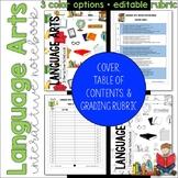 ELA Language Arts Interactive Notebook Cover, Grading Rubr