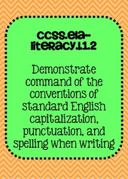 Common Core ELA Language Standards Posters 1st grade