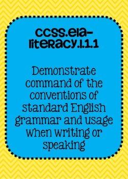 Common Core ELA Language Standards Posters 1st grade