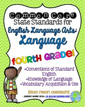 Common Core ELA Language Standards Posters 4th grade