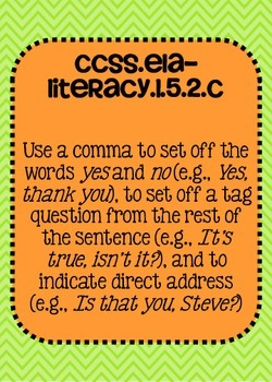 Common Core ELA Language Standards Posters 5th grade