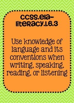 Common Core ELA Language Standards Posters 6th grade
