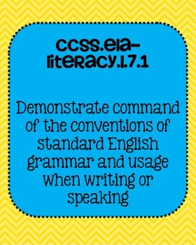 Common Core ELA Language Standards Posters 7th grade