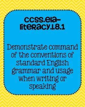 Common Core ELA Language Standards Posters 8th grade