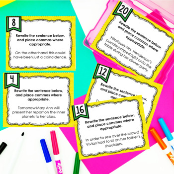 ELA Language Common Core Task Cards 5th Grade {L.5.2: Commas and Spelling}