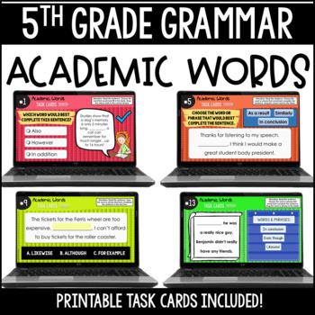 ELA Language Common Core Task Cards 5th Grade {L.5.6 Academic Vocabulary}
