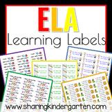 ELA Learning Labels- Kindergarten (Word Doc)