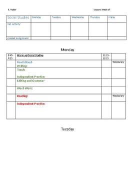 ELA Lesson Plan Template
