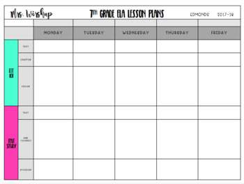 ELA Lesson Plan Template EDITABLE!