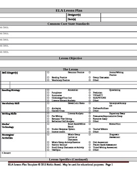ELA Lesson Plan Template With Embedded Common Core Standards By - Lesson plan template common core