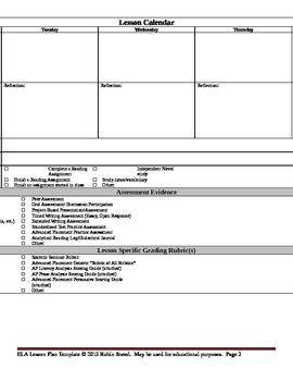 ELA Lesson Plan Template With Embedded Common Core Standards By - Lesson plan template using common core standards