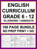 ELA Lessons Bundle: 16 Lesson Plans & Handouts for NO PREP English Curriculum!