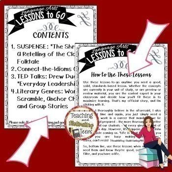 Emergency Sub Plans for ELA Lessons Bundle