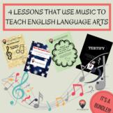 ELA Lessons that Use Music as Text! It's a 4 Lesson Bundle!