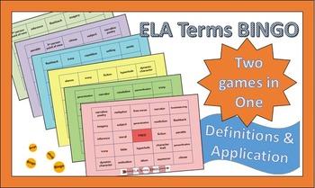 ELA Literary Terms BINGO Games