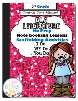 ELA Literature Common Core  Interactive Notebook 3rd Grade