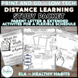 English Distance Learning LOW TECH PACKET