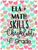 ELA & MATH Skills Checklist for 4th (EDITABLE)