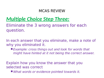 ELA MCAS Strategies for answering Multiple Choice/Open Response
