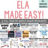 ELA Made Easy: A Year-Long Language Arts BUNDLE