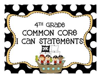 ELA & Math 4th CCS I Can Pirate Theme