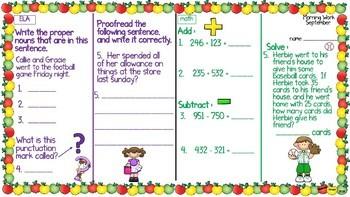 ELA & Math Morning Work September BUNDLE