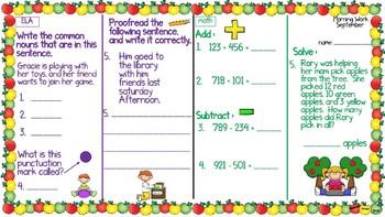 ELA & Math Morning Work September SET ONE