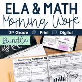 ELA and Math Morning Work 3rd Grade {Bundle} I Distance Learning I Google Apps
