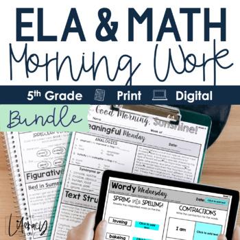 ELA + Math Morning Work 5th Grade {Growing Bundle}
