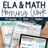 ELA + Math Morning Work 5th Grade Bundle  Distance Learnin