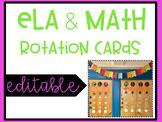 ELA & Math Rotation Board EDITABLE and BRIGHT
