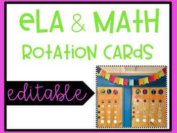ELA & Math Rotation Cards EDITABLE and BRIGHT
