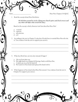 ELA Module 3:  PETER PAN Chapters 5-8 QUIZ