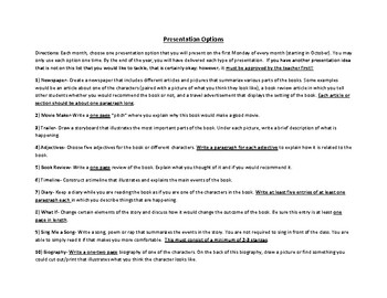 ELA Monthly Reading Log Calendar & Project