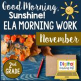ELA Morning Work 2nd Grade {November} I Distance Learning I Google Slides