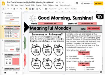 ELA Morning Work 2nd Grade {September}