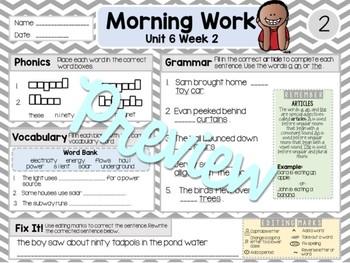 ELA Morning Work 2nd Grade (Unit 6) BUNDLE