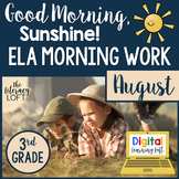 ELA Morning Work 3rd Grade {August} I Distance Learning I Google Slides