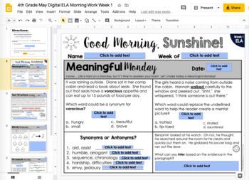 ELA Morning Work 4th Grade {May}